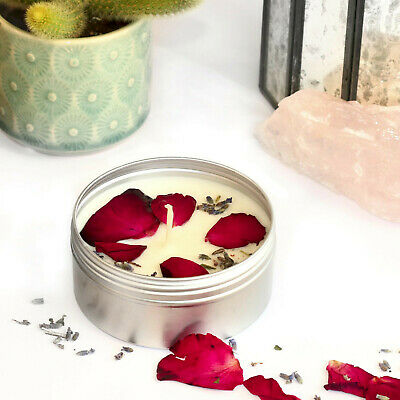 CANDLE MAKING KIT Eco Soy Wax Scented Tin Dried Flowers Petals Rose Lavender KVD • 12.99£