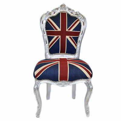 £180 • Buy Chairs - France Baroque Style Dining Royal Chair Silver / Union Jack #60st5