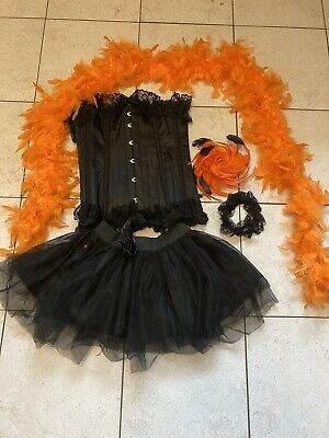 Ladies Boned Corset Burlesque Outfit Frilly Skirt Feather Boa Fascinator • 15£