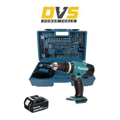 Makita DHP453FX12 18V LXT Combi Drill 3Ah Bat, Charger & 101 Pcs. Accessories • 148.95£