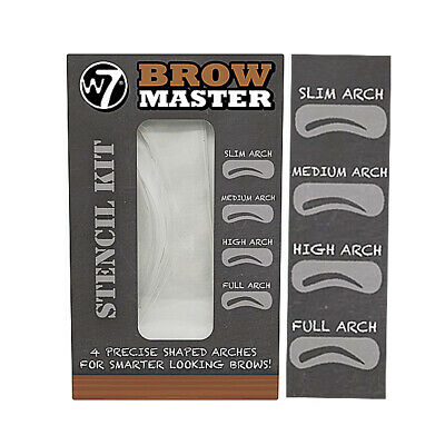 W7 Brow Master Eyebrow Stencil Kit Shaping Defining 4 Arch Make Up Templates • 2£