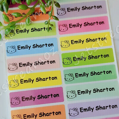 AU5.59 • Buy 36 Mixed Color Personalised Name Label Stickers School Book Vinyl 46x13mm