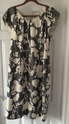 Boden Grey & White Abstract Floral Print Silk Occasion Dress Size 16L • 5£