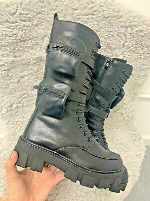 £39.85 • Buy Womens Ladies High Top Pocket Ankle Boots Lace Up Platform Chunky Sole Shoes