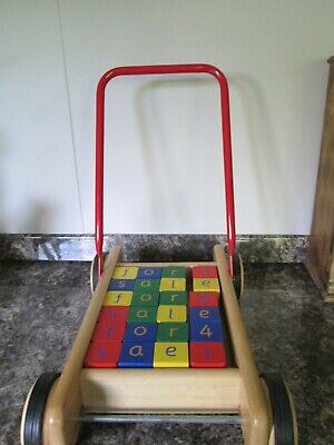 Old fashioned Wooden Childrens Toys, Walker With Bricks, Hammer Shapes And Dice • 20£