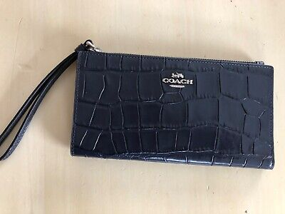 New Coach Beautiful Navy Leather Purse Wristlet New With Tags Rrp £285 • 30£