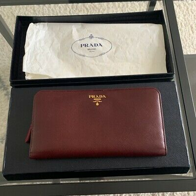 New In Box Burgundy Prada Leather Wallet • 220£