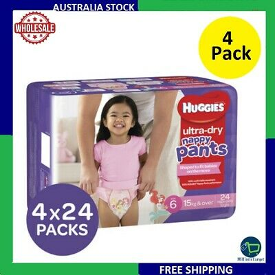 AU74.99 • Buy Huggies Ultra Dry Nappy Pants, Girls, Size 6 Junior (15+kg) 96 Count 4x24 Pack