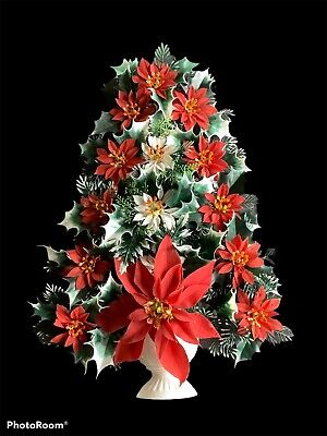 $ CDN31.50 • Buy Vintage  Retro 17  Plastic Christmas Tree Wall Hanging Poinsettia Gold Glitter