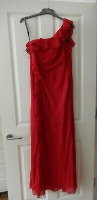Ladies Pearce II Fionda Bridesmaid/Occasion One Shoulder Dress, Red, UK 10, USED • 9.99£