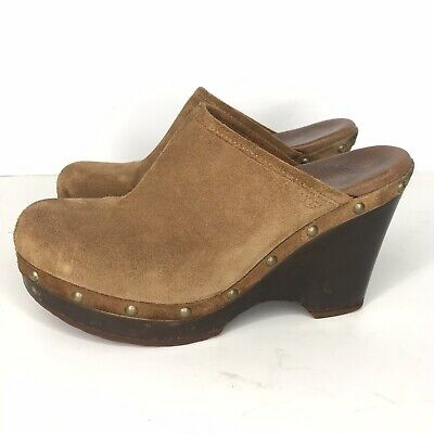 £22.66 • Buy UGG Abbie Women's Suede Wooden Wedge Clogs Mules Shoes Size 7 Tan Boho Festival