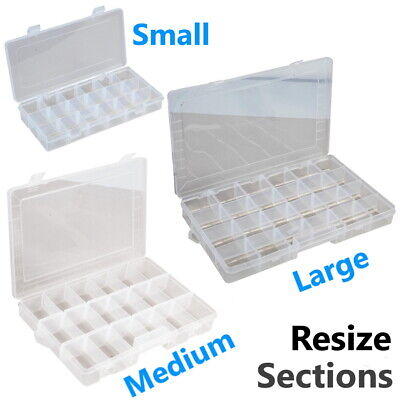 Storage Box Hard Plastic Adjustable Compartment Slot Plastic Craft Organizer • 6.95£
