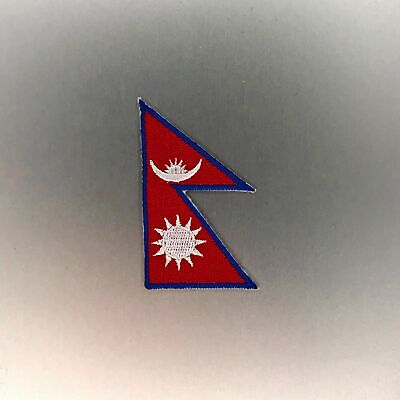 Nepal Flag Patch — Iron On Badge Embroidered Motif — Nepalese World Mini • 3.01£