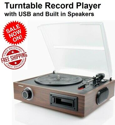 AU109.90 • Buy 3 Speed Turntable Vinyl LP Cassette Record Player USB Digital Conversion To MP3