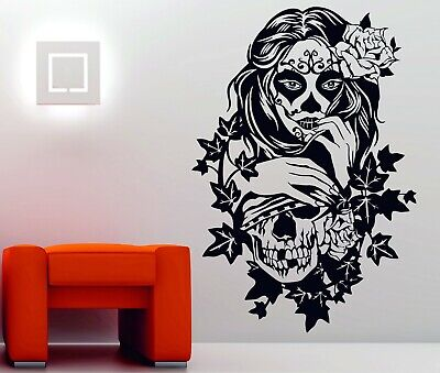 Candy Sugar Skull Floral Girl Tattoo Decor Vinyl Wall Sticker Decal Rockabilly • 13.98£
