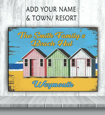 PERSONALISED BEACH HOUSE HUT CHALLET HOLIDAY SEASIDE SS02 Metal Retro Sign RS260 • 8.95£
