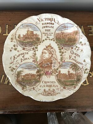 Commemorative Queen Victoria Diamond Jubilee Plate From 1897 Damaged • 5.25£