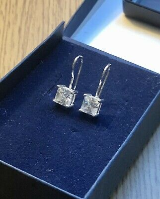 Silver Square Simulated Diamond Drop Earrings • 3.95£
