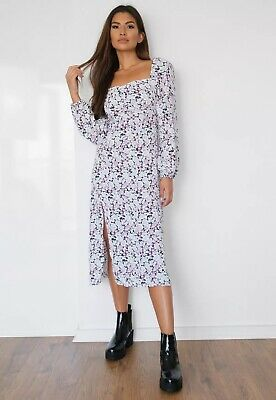 Missguided Purple Floral Midi Milkmaid Dress Size 16 BNWOT • 5£