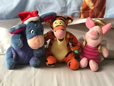 Disney Eeyore (with Xmas Hat), Piglet (as An Angel) And Tigger Small Soft Toys • 3.75£