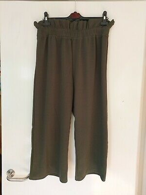 Ladies Khaki Cropped Wide Leg Smart Trousers Size 18 New • 3.99£