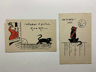 $ CDN44.18 • Buy Vintage Black Cat Postcards Halloween Style With Black Cat And Moon (2)