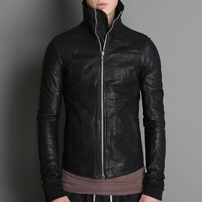 NEW Rick Owens Intarsia High Neck Leather Jacket FW11 Motocycle SMALL • 946.83£