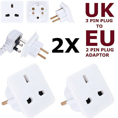 2x NEW 2-Pin To 3-Pin UK Adapter Plug Socket Converter EU European Euro Europe • 2.99£