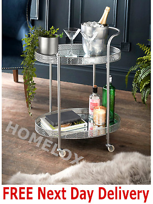 £45 • Buy Deco Glamour Drinks Trolley Silver With 2 Mirrored Shelves Art Deco Theme