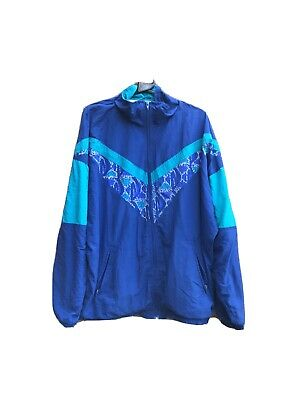 Size M Zip Up Shell Suit Sports Jacket Blue & Green • 10£