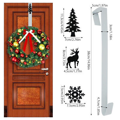 38cm Metal Over Door Christmas Wreath Door Hanger Secure Xmas Decoration Hook UK • 5.49£