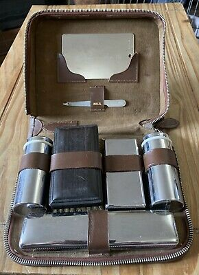 Vintage Mens Gents Vanity Grooming Travel Set In Brown Leather Zip Case Shaving • 3.13£