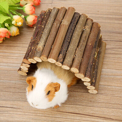 Hamster Bendy Wooden Bridge Ladder House For Reptile Mice Rodents Small Anim • 4.95£