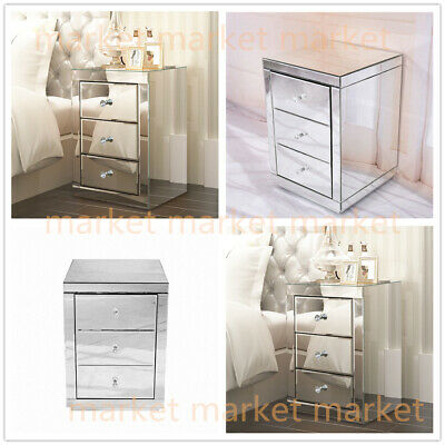 Large Stylish Sparkling Mirrored Glass 3 Drawer Bedside Tables Cabinets Venetian • 99.99£