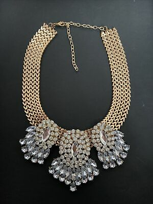 Gold Style Statement Necklace Costume Jewellery • 2.10£
