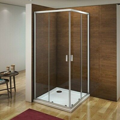 Aica 760X760 Corner Entry Shower Enclosure Walk In Sliding Glass Screen Cubicle • 85£