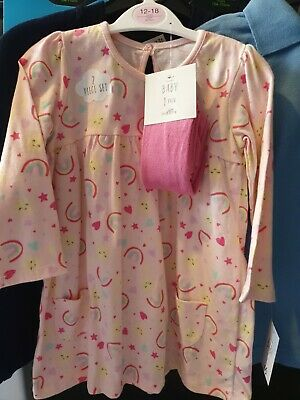 Baby Girls Dress And Tights Outfit BNWT 12-18 Months Rainbows And Sunshine  • 4£