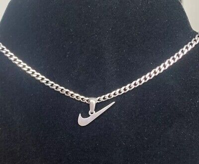 Silver Nike Swoosh Tick Stainless Steel Necklace Chain Pendant • 20.99£