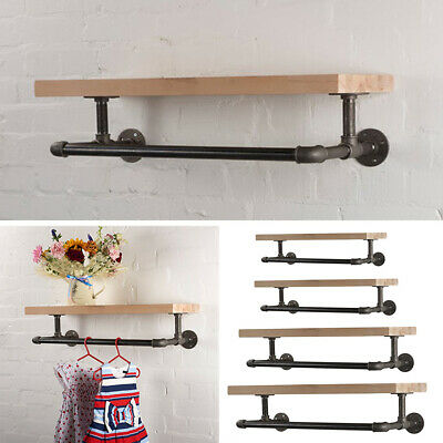 £26.95 • Buy Clothes Rail Shelf Industrial Pipe Clothing Rack Wall Mounted Wooden Board Shelf