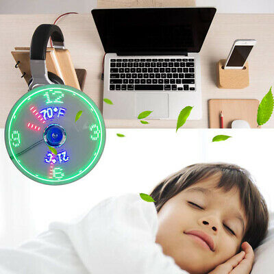 AU20.12 • Buy BL_ Creative Mini USB LED Clock Real Time Temperature Display Summer Cooling Fan
