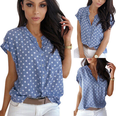 AU16.52 • Buy Women Short Sleeve V-Neck Spotted Button Down Shirt Tops Summer Loose Blouse Tee
