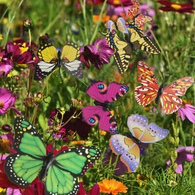 50Pcs Butterflies Stakes Colorful Ornaments Garden Patio On Sticks Home Decor • 7.50£
