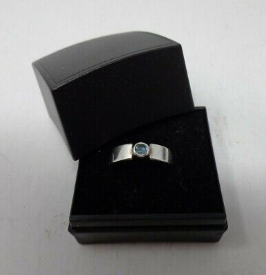 Sterling Silver Topaz Ring Pale Blue Gem Set In Band Size J In Gift Box B3 #39 • 5£