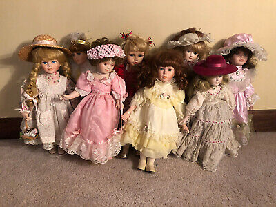 $ CDN78.39 • Buy LOT 8 VINTAGE 16  COLLECTIBLE COLLECTION PORCELAIN VICTORIAN LADIES DOLLS Girls