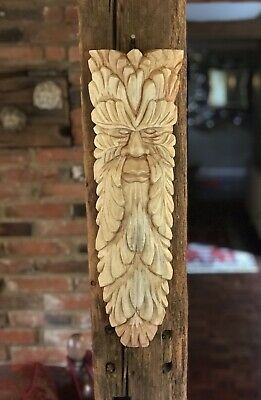Green Man Wooden Carving. Large 49cm X 14cm. Hand Carved. Garden / Interior • 22.99£