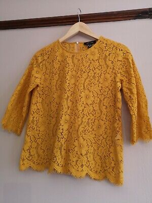 New Look Lace Top Size 12 Mustard Beautiful Detail • 0.99£