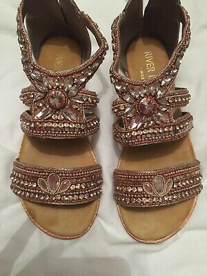 River Island Sequin Jewelled Gladiator Sandals Size 4. Perfect Condition • 12£