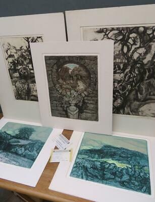 JOHN WRIGHT RE (1927-2001) Set X5 LIMITED EDITION Etchings Abstract / Landscapes • 9.99£