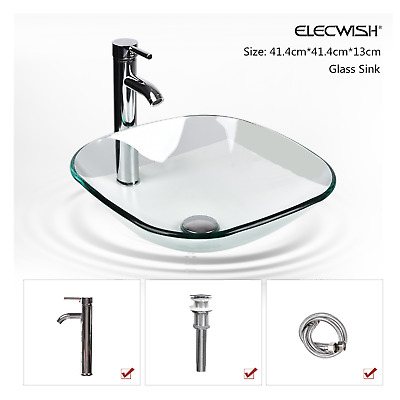 Bathroom Vessel Sink Hand Wash Faucet Drain Set Vanity Bowl Tempered Clear Glass • 14.50£