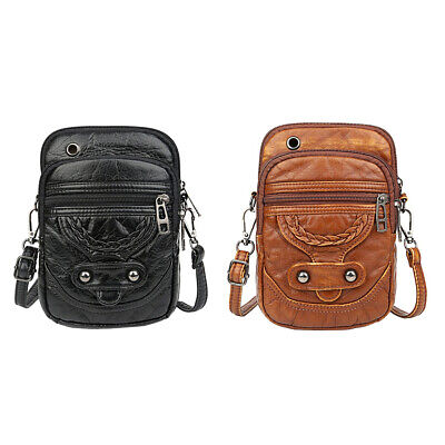 PU Leather Women Shoulder Messenger Bags Casual Solid Travel Phone Pouch • 8£